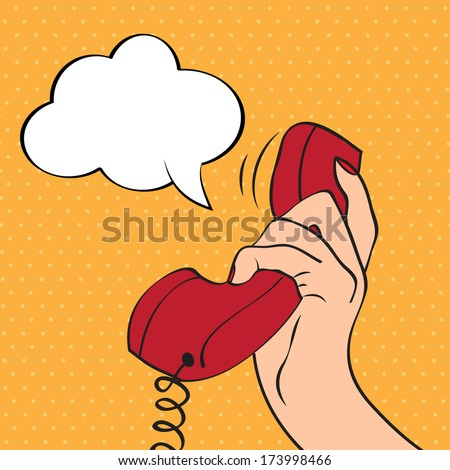 Hand holding a phone, pop art illustration in vector format - stock vector