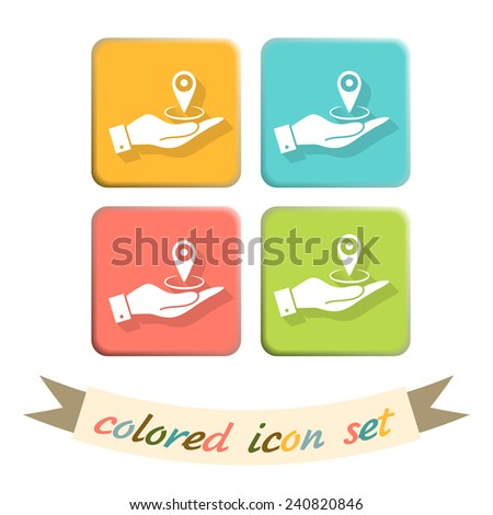 hand holding a pin location on the map. local pin - stock vector