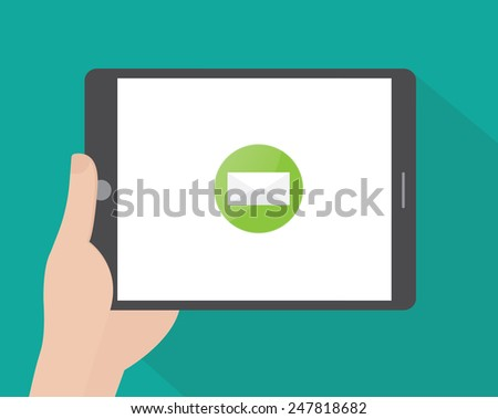 Hand holding a portable PC - stock vector