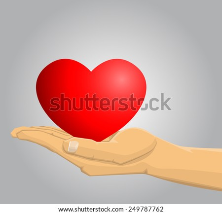 Hand holding a red heart - stock vector