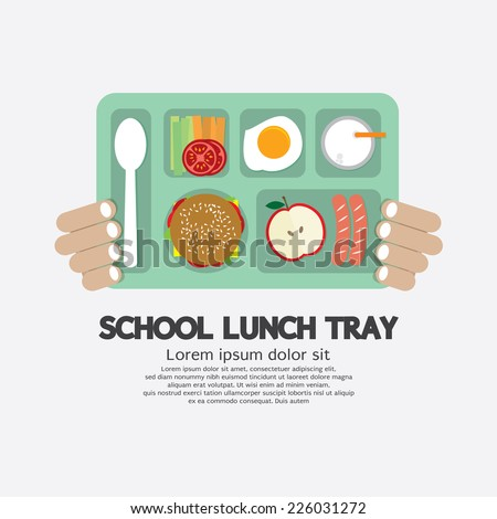 Hand Holding A School Lunch Tray Vector Illustration - stock vector