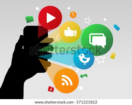 Hand Holding a Smart Phone with Social Network Icons Bursting From the Mobile Phone