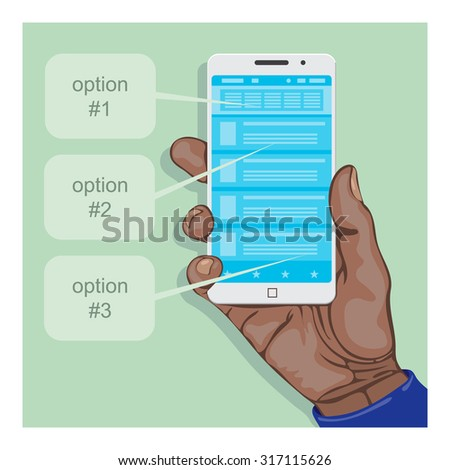 Hand holding a smart phone with some mobile application. Element for flat infographic. - stock vector
