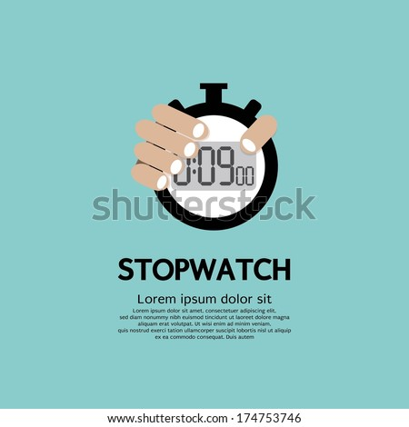 Hand Holding A Stopwatch - stock vector