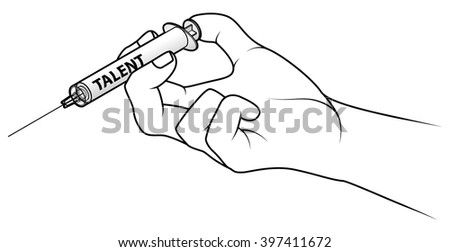 Hand holding a syringe. Concept: injecting respect.