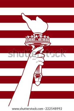 Hand holding a torch with striped background. - stock vector