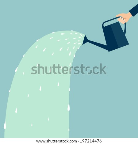 Hand holding a watering can with water, business concept flat design - stock vector
