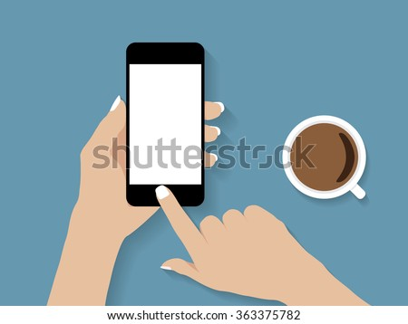 hand holding and touch phone vector design - stock vector