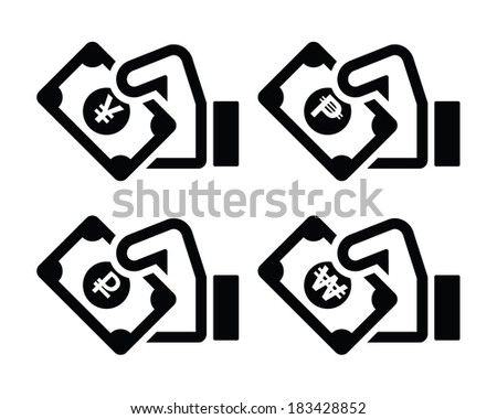 Hand holding banknote icons set isolated on white