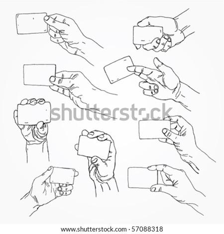 Hand Holding Banner Outline - stock vector