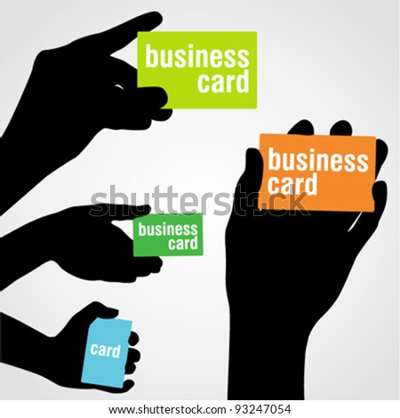 Hand holding blank business card - stock vector