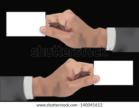 Hand holding blank card,for text,vector