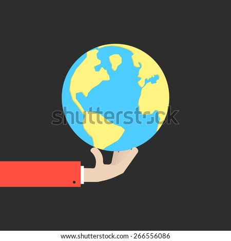 hand holding blue and yellow earth. concept of happy earth day, april 22, eco friendly, help ecology, future life, natural. isolated on black background. flat style modern design vector illustration - stock vector