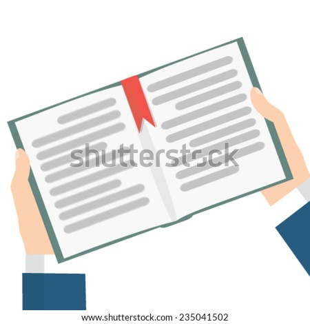 hand holding books - stock vector