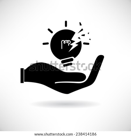 hand holding broken bulb, idea - stock vector