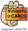 hand holding business card - stock vector
