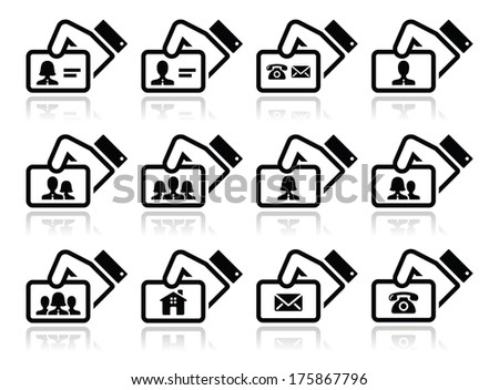 Hand holding business cards icons set - stock vector