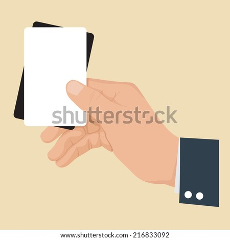 Hand holding card black and white, illustration vector. - stock vector