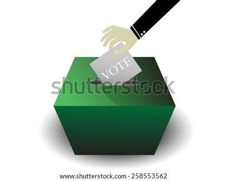 hand holding card insert to box - stock vector