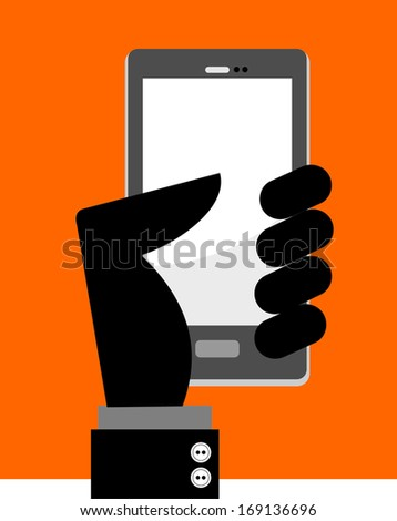 hand holding cell phone  - stock vector