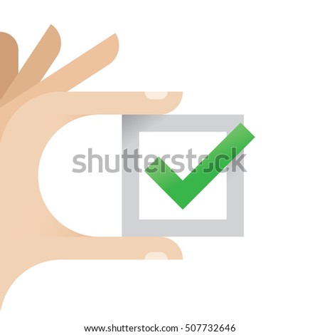 "Hand holding checkbox with green ""Yes"" checkmark"