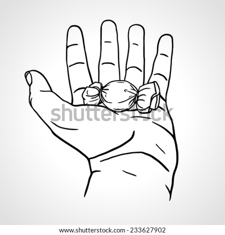Hand holding chocolate candy. Open hand offers a wrapped candy, hand drawn vector hand