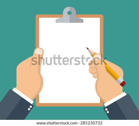 Hand holding clipboard with blank sheet of paper and a pencil - Flat style - stock vector