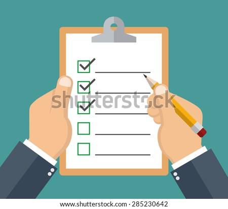 Hand holding clipboard with checklist and pencil - stock vector