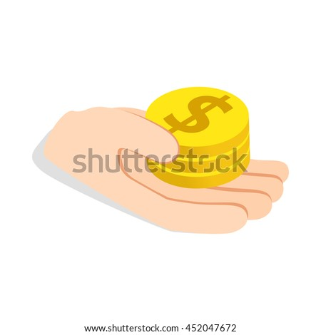 Hand holding coins icon in isometric 3d style isolated on white background. Money symbol - stock vector