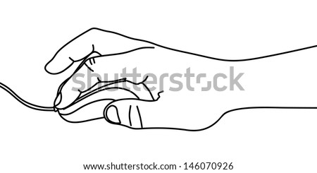 Hand holding computer mouse, illustration