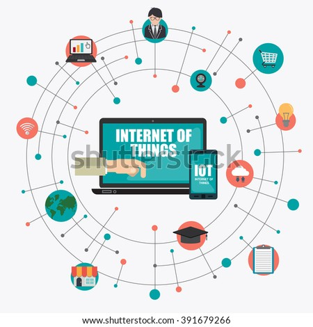 hand holding computer with Internet of things word and icons, Digital Marketing concept - stock vector