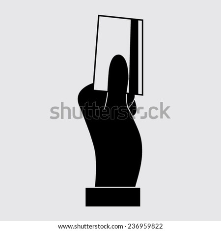 Hand holding credit card, business card, ID icons set on a grey background - stock vector
