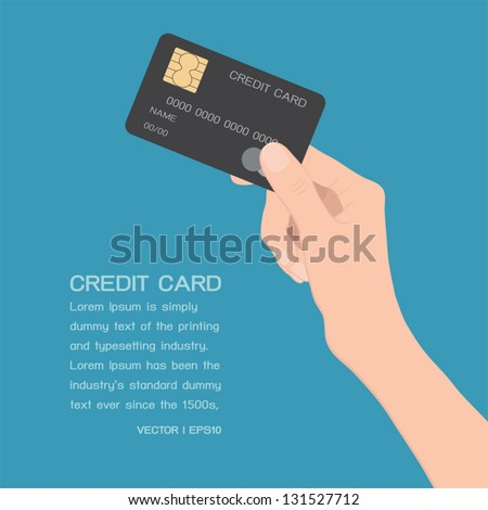 Hand holding credit card, vector - stock vector