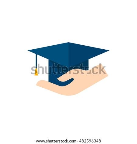 hand holding diploma icon flat color stock vector  hand holding diploma icon in flat color style education school protection security graduate diploma insurance
