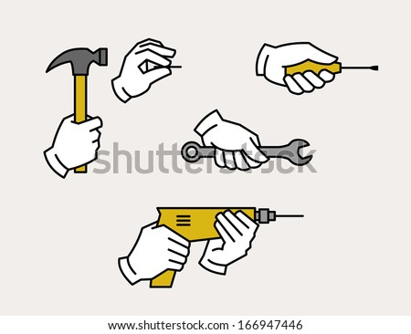 Hand holding drill, spanner, screwdriver, hammer and nail. Hardware tools. - stock vector