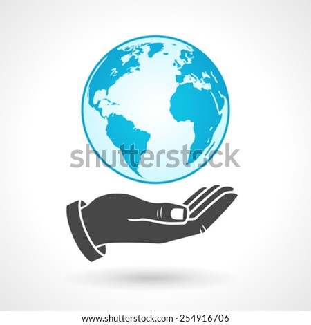 Hand Holding Earth Globe Symbol - stock vector