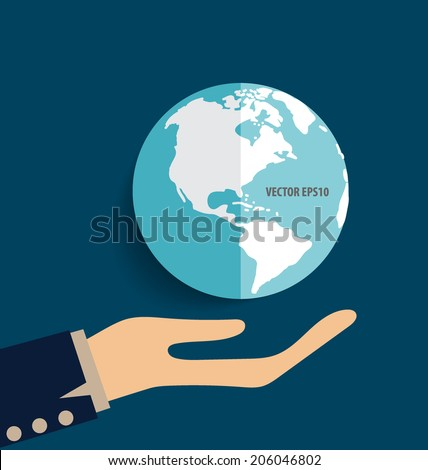 Hand holding earth. Vector illustration. - stock vector