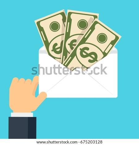 Hand Holding Envelop Money Symbol Wealth Stock Vector 675203128