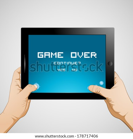 Hand holding gaming tablet - stock vector