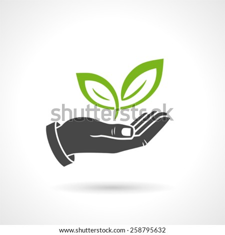 Hand Holding Green Leaves Ecology Vector Symbol - stock vector