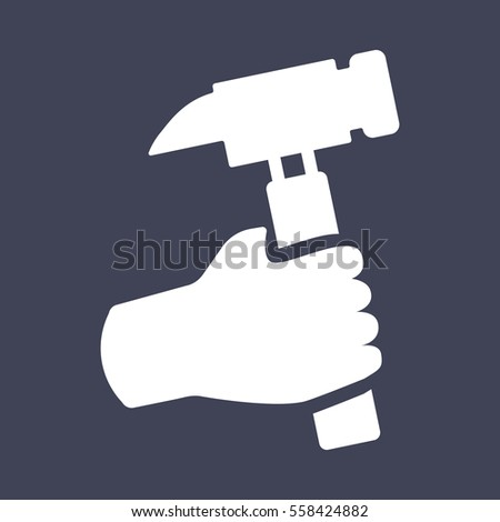 Hand holding hammer icon