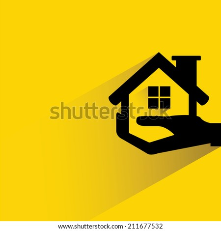 hand holding house, real estate investment concept - stock vector