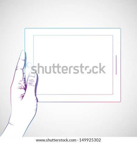 Hand holding 10 inch tablet, horizontally - stock vector
