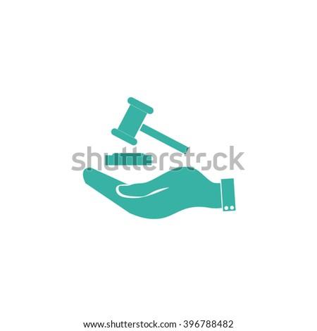Hand holding judges gavel. - stock vector