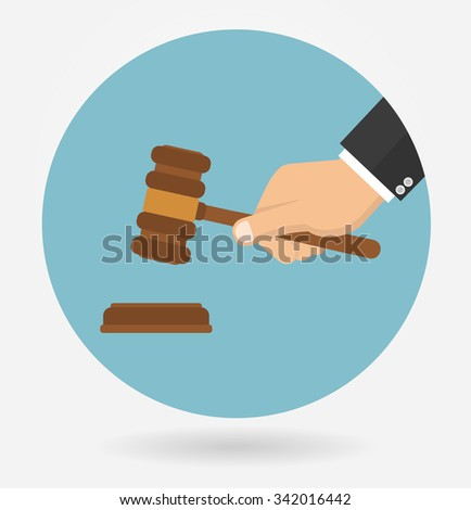 Hand holding judges gavel. Icon in flat style - stock vector