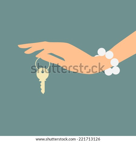 Hand holding key. Real estate concept. Vector Illustration. - stock vector