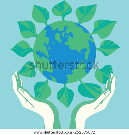 Hand holding leaf and globe - stock vector