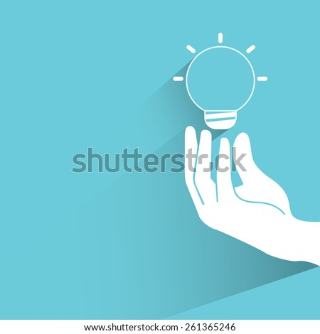 hand holding light bulb, creativity, flat and shadow theme - stock vector