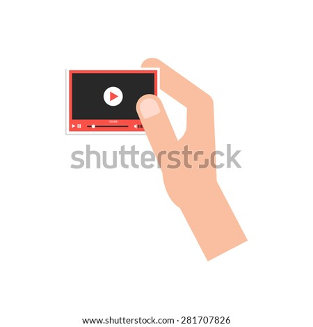 hand holding little video player card. concept of marketing, video blogging, stream, promotion, presentation, network. isolated on white background. flat style trend modern design vector illustration - stock vector