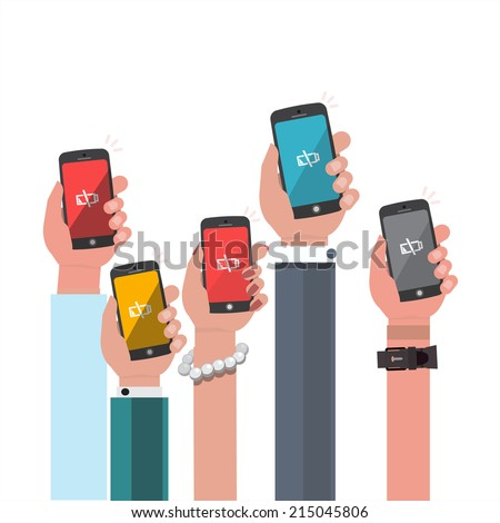 hand holding low battery smartphone - vector illustration - stock vector